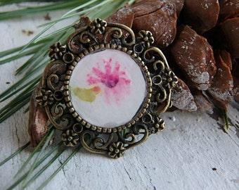 Blossom pendant Pink Daisy- art resin pendant original painting. bright pink flower. small brass bezel. jewelry finding. Jettabugjewelry