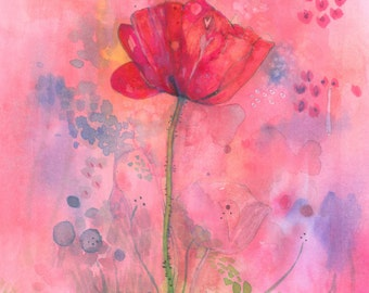 PRINT 5 x 7 A Flower just Blooms Poppy inspiring red Bloom quote A4  print