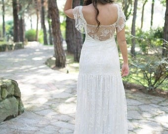 Wedding Dress, Bohemian Wedding Dress, Lace Wedding Dress, Long Wedding Gown, Bridal Gown, Cap Sleeves Gown, Handmade Gown, SuzannaM Designs