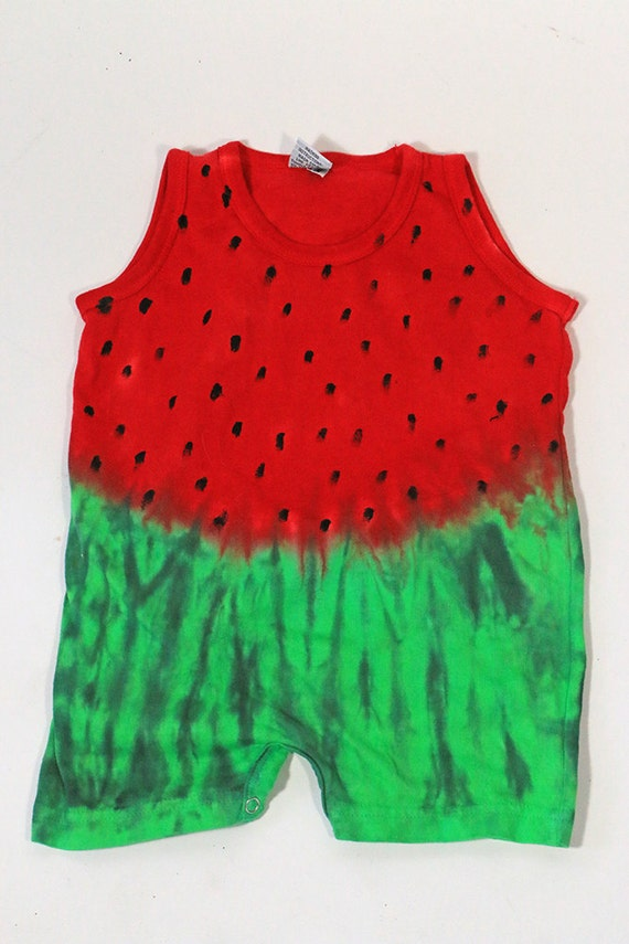 Tie Dyed  Watermelon Short Sleeve   Tank Romper, Made To Order