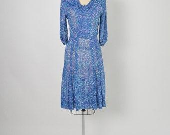 "Vintage 1940s 40s Cotton Day Dress Size Medium 34"" Waist"