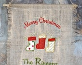 """Monogrammed """"Merry Christmas"""" Burlap Banner with Stockings"""