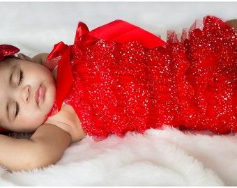 Red Glitter Petti Romper