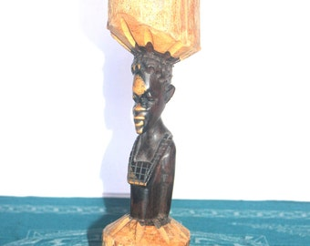 Carved African Statue, Wood Carved, Chief Statue, Tribal Decor, Antique Alchemy