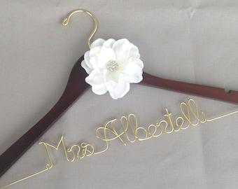 SALE Wedding Dress Hanger, Personalized Hanger, Bride Hanger, Custom Hanger, Wedding Hanger, Mrs Hanger, Name Hanger, Ivory Flower