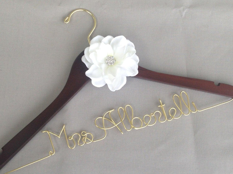 Sale wedding dress hanger personalized hanger by deighandesign for Wedding dress personalized hanger