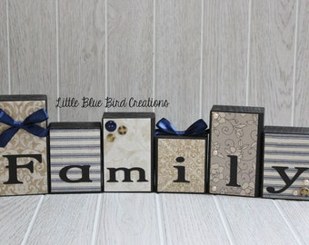 Family wooden block set - custom wood block decor- home decor