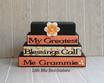 My Greatest Blessings Call Me grandma- handcrafted wooden block set -grandparents gift -home decor- mothers day gift