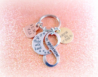 Personalized Hand Stamped Keychain I Love You To Infinity and Beyond to the Moon and Back Forever and Always - everythingprettyshop
