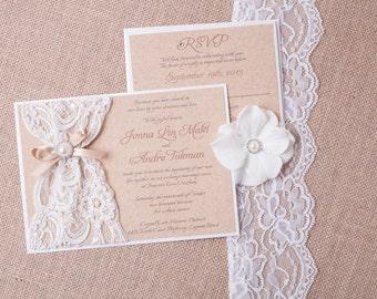 ABIGAIL: Burlap Lace Wedding Invitation, Vintage Rustic Invitation, Country Wedding Invitiation