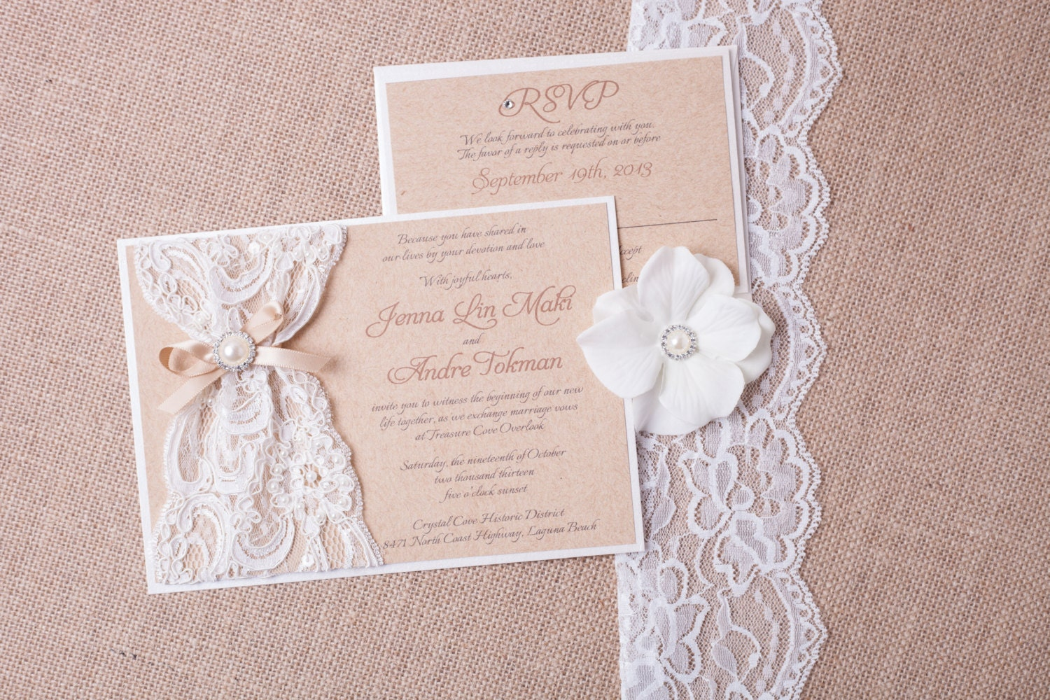 Lace Wedding Invitation: ABIGAIL: Burlap Lace Wedding Invitation Vintage Rustic