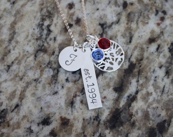 Sterling Silver 925 Hand Stamped Family Tree Necklace for Mom or Grandma