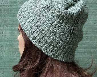 Sage green beanie slouchy hat slouch beanie recycled sweater rayon blend eco accessories handmade unisex lightweight ski hat upcycled