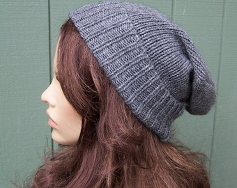 Grey wool beanie slouchy hat slouch beanie recycled wool blend sweater eco accessories handmade unisex lightweight ski hat upcycled