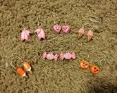BUNDLE! Handmade Cute Pink Kawaii Polymer Clay Earrings. 6 Pairs - Sakura Petals, Hearts, Ice Cream, Creamsicle, Candy, Oranges.