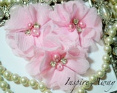 "Set Of 3 Petite Ballet Pink Chiffon beaded flowers - 1.5"" Pearl and Rhinestone Flowers - Layered small fabric flower -headband supply"