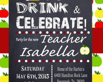 Teacher Education Degree Graduation Invitation Personalized Graduation invitation DIY Printable Eat Drink and Celebrate