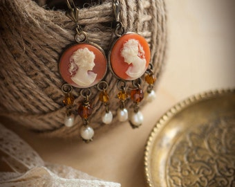 """Brass Renaissance and Baroque Vintage Earrings with Lady Cameos and Pearls """"Elizabeth Queen"""" Victorian Estate Jewelry"""