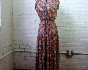 Floral Peasant Dress SMALL 1970s Earthy Sheer Cotton Gauze Beige Gray Rust Tan Muted Flowers Boho Gypsy Sleeveless Summer Festival Clothing