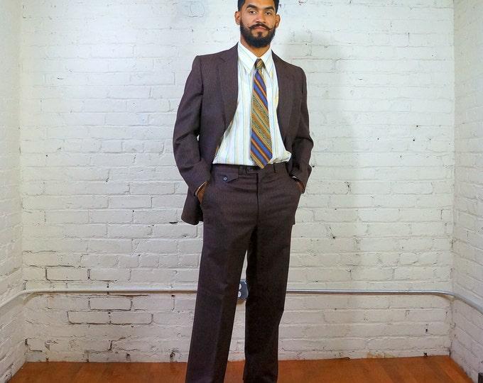 Mens Suit 1960s Vintage Designer Suit Oscar De La Renta Brown Wool Light Blue Stripe LARGE Size 40 Jacket 31 X 31 Flat Front Pants Lanoies