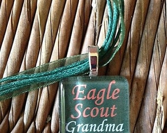 Eagle Scout Grandma Necklace by Maggie Taggie glass tile tags