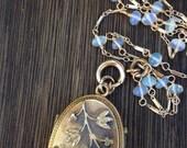 Antique Etruscan Revival Victorian Locket Necklace, Turquoise Cabochons, Detachable Ethiopian Opal Gemstone Chain
