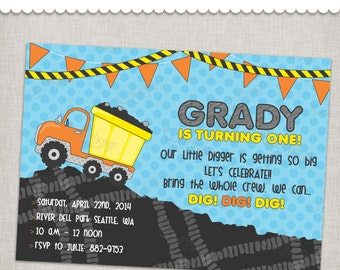 Construction Birthday Invitation - Dumptruck, Backhoe, Dirt - Printable Digital File or Printed Invitations with Envelopes - FREE SHIPPING