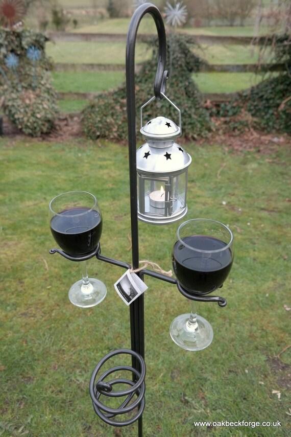 Garden Wine Glass Amp Bottle Holder With Lantern Blacksmith