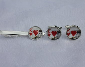 King of Hearts Poker Tie Clip and Cuff Links Set