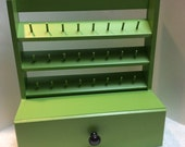 Spool Holder & drawer -Sewing accessory-Sewing Storage solution - Green- Holds 24 spools of thread