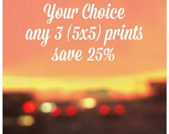 DISCOUNT SALE - Any three 5x5 Prints 25% off