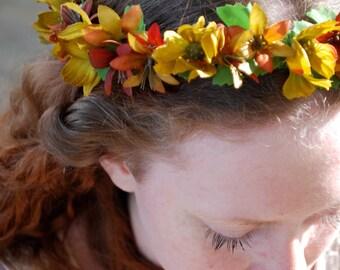 Flower crown, green, dogwood, orange, wildflowers