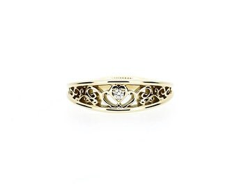 Diamond heart filigree ring, yellow gold,  white gold, rose gold, diamond engagement ring, unique, filigree wedding, vintage, anniversary