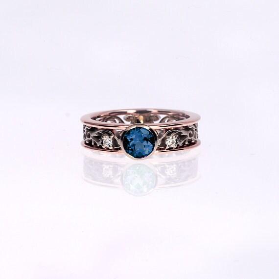 0 44ct Teal diamond filigree ring made from by TorkkeliJewellery