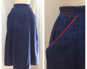 Staple Piece / Vintage 1950s Denim Jean Skirt / Koret of California / Small Medium