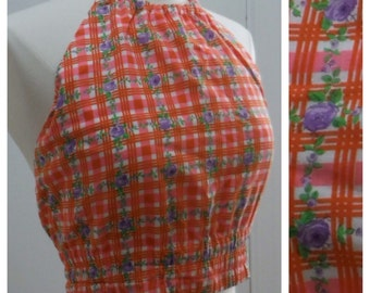 "Love and Peace / Vintage 1960s Floral Plaid Halter Top / Playsuit Top / 34"" Bust"