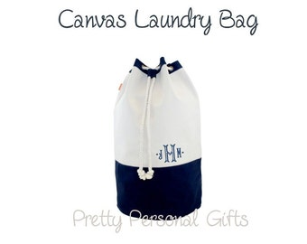 Canvas Laundry Bag - Monogrammed - Navy Laundry Tote