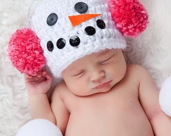 Snowman Baby Hat Snowmen Baby Hat Newborn Photo Prop Ear Muff Pom Pom Baby Hat Newborn Baby Girl Hat Pink Ear Muff Winter Photography Prop