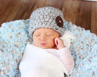 Newborn Hat Baby Boy Hat Baby Girl Hat Newborn Baby Hat Photo Prop Gray Baby Hat Gray Marble Wood Button Baby Beanie Photography Prop