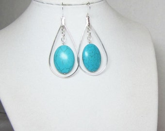 Turquoise Oval Earrings - Silver and Turquoise Earrings - Turquoise Dangle Earrings Statement Earrings - Turquoise Oval Earrings