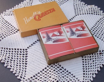 Vintage Playing Cards / 2 Decks of Cards . Hamilton Canasta . Winter Snow Scene