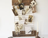 Handmade Upcycled Photograph Display Board, Rustic Industrial Memo Board