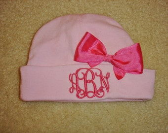 Custom personalized monogrammed 3 initial pink newborn baby hat with hot pink bow