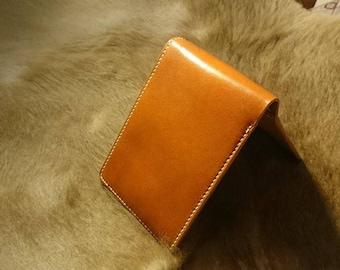Orange Italian calf + vegetable tanned leather wallet men