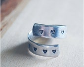 Aluminum Hearts Wrap Ring - Valentine's Day Gift - Sweetheart Ring - Aluminum Hammered Ring - Heart Ring
