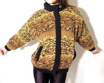 80s Sweater / Leopard Sweater / Vintage Sweater / Rival Zipped Sweater / Zipped Sweater