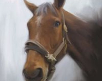 Horse Art Personalized Portrait from Photo Custom Painting on Canvas - 20x24 Reserved for Mathew