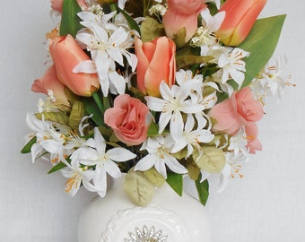 Silk Flower Arrangement, Coral Tulips, Coral Rosebuds, White Tiger Lilies, White Vase, Artificial Flower Arrangement, Floral Home Decor,
