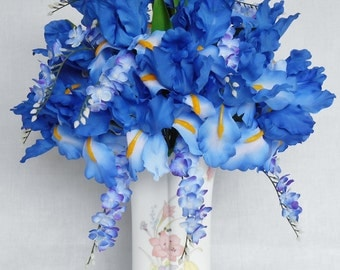 Silk Flower Arrangement, Blue Iris, Blue Wisteria, Floral Vase, Artificial Flower Arrangement, Silk Floral Arrangement, Floral Home Decor,