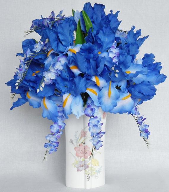 arrangement de fleurs en soie iris bleue bleu glycine vase. Black Bedroom Furniture Sets. Home Design Ideas